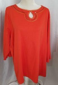 Quacker Factory Bright Orange Sequined Tunic